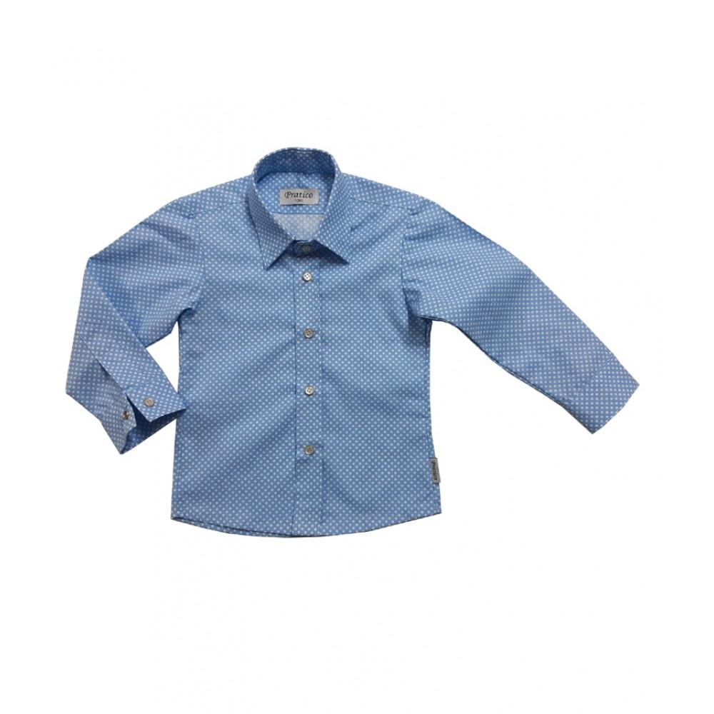 Plava dečija košulja sa belim tufnama