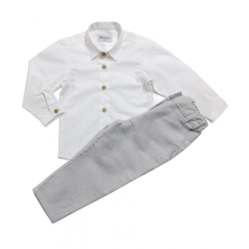 Sivo/beli/pruge komplet za devojčice