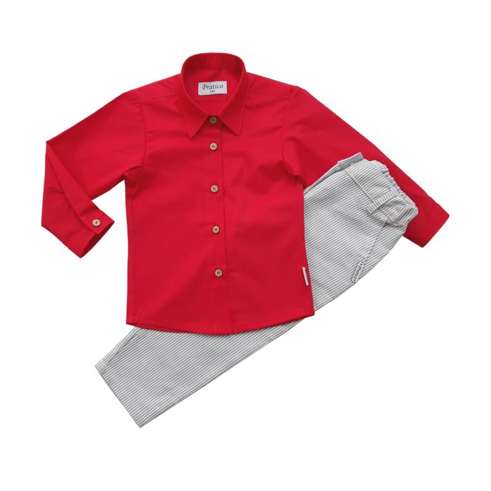 Crveno/sivi/pruge komplet za devojčice