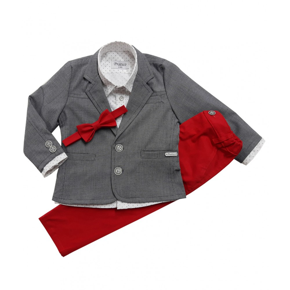 Pepito-sivi/crveni komplet za dečake