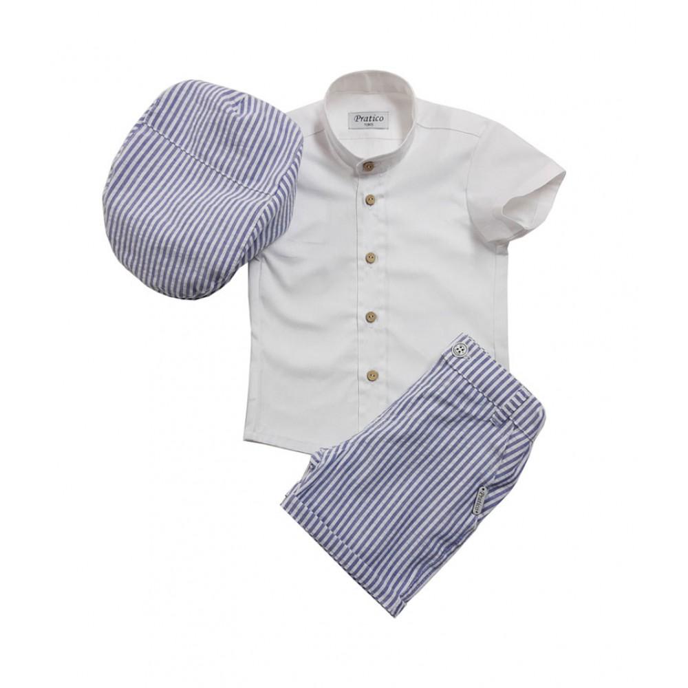 Plavo-beli/pruge komplet za male dečake