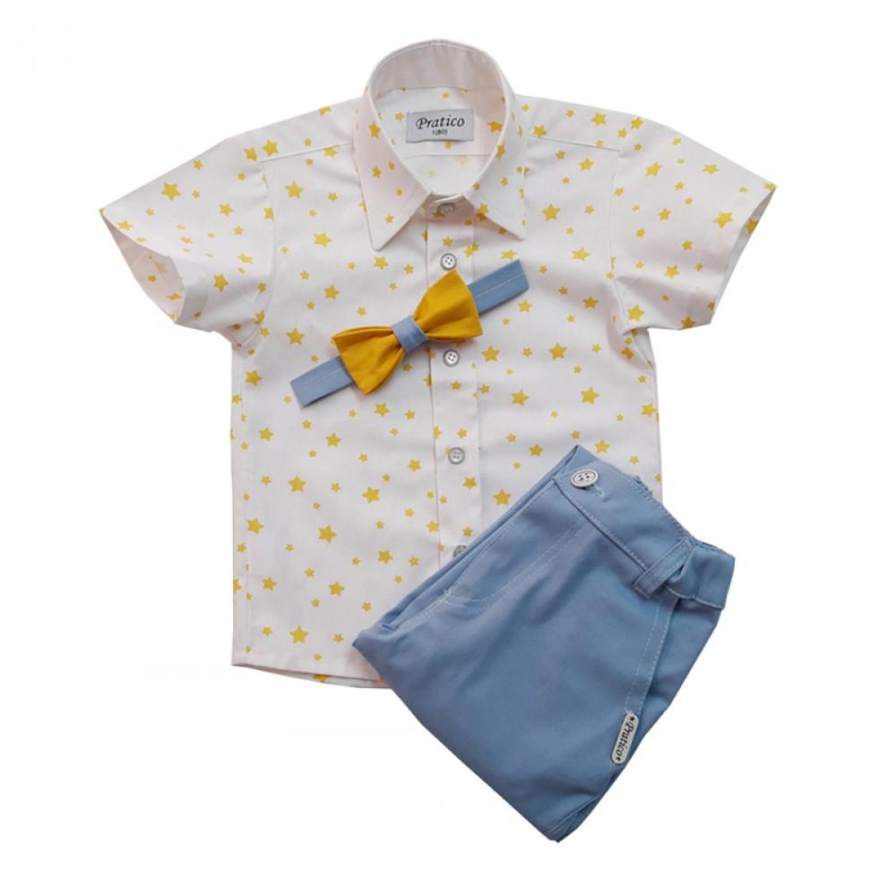 Plavi/zvezde/žuti trodelni komplet za male dečake