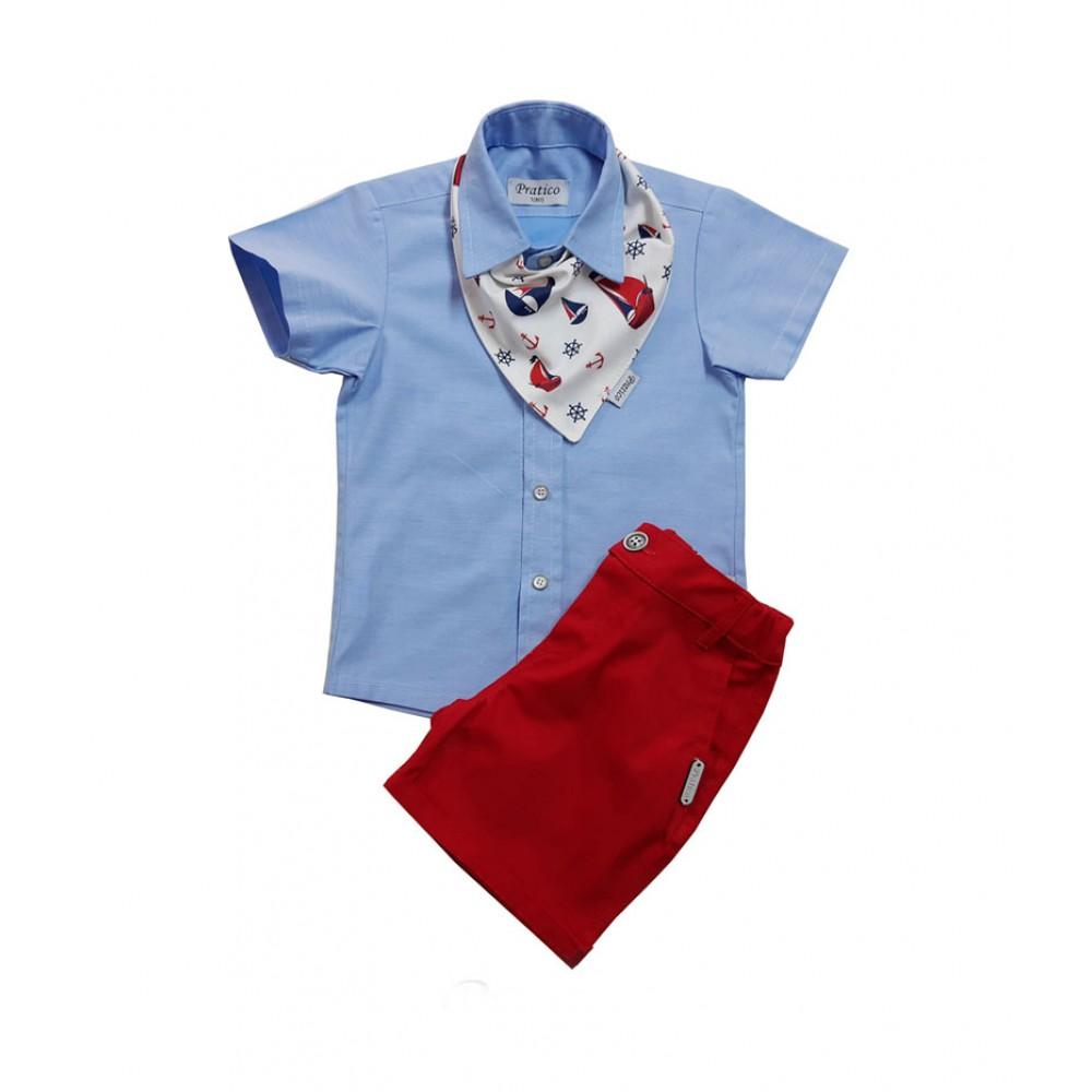 Plavo/crveni sa maramom