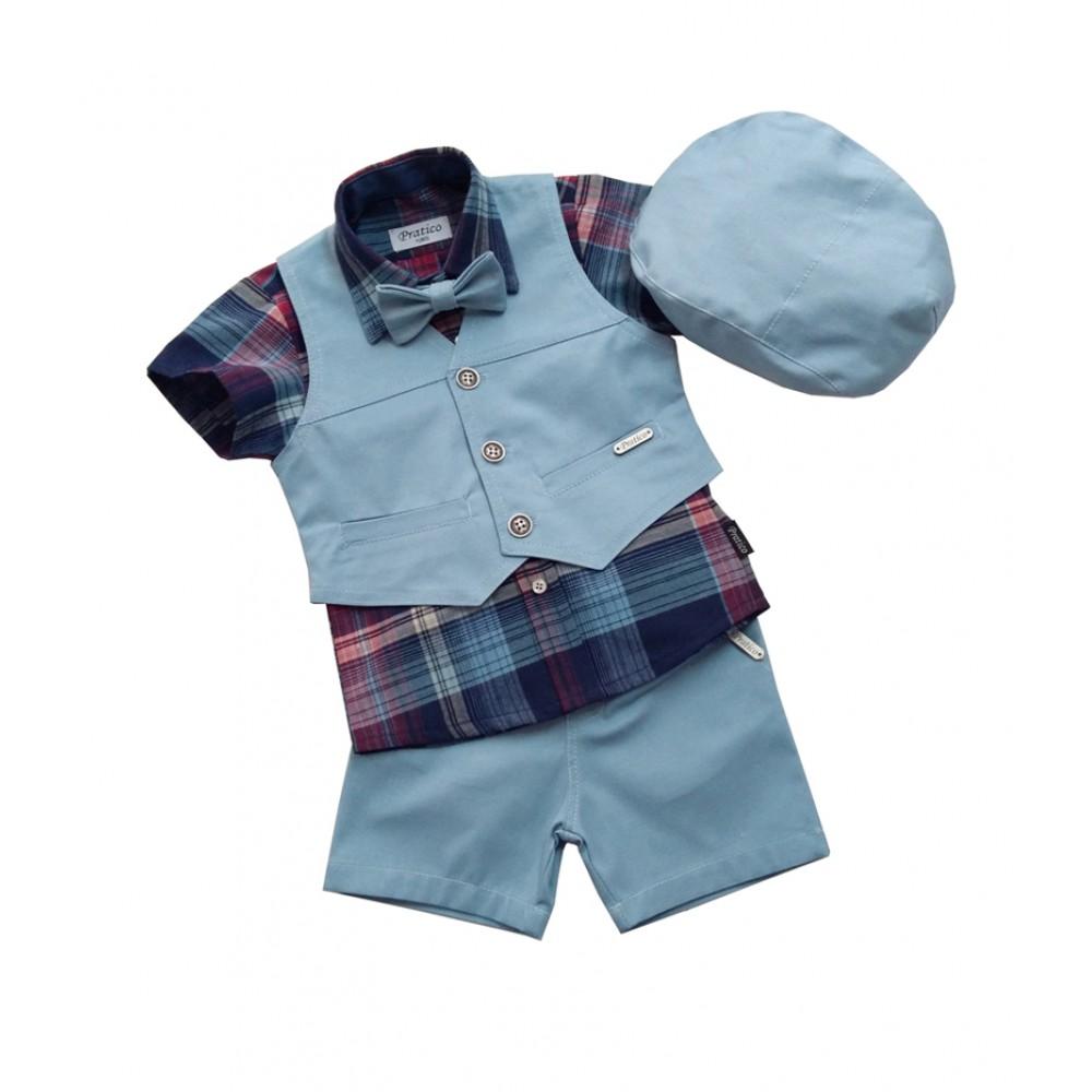 Karirano/plavi letnji komplet za male dečake
