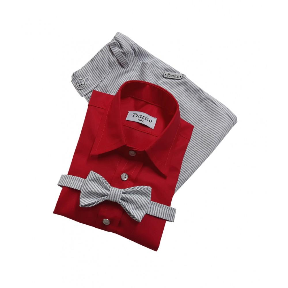Crveni/sivi/pruge trodelni komplet za male dečake