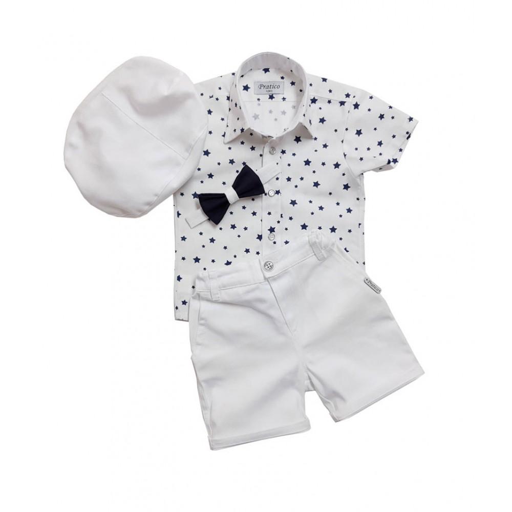 Beli/teget zvezde komplet za male dečake