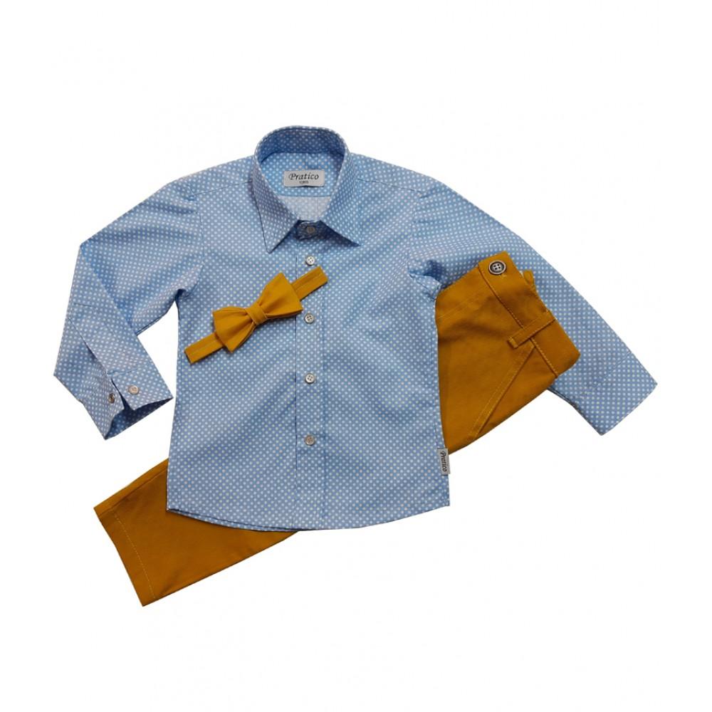 Plavi/tufne/oker trodelni komplet za dečake