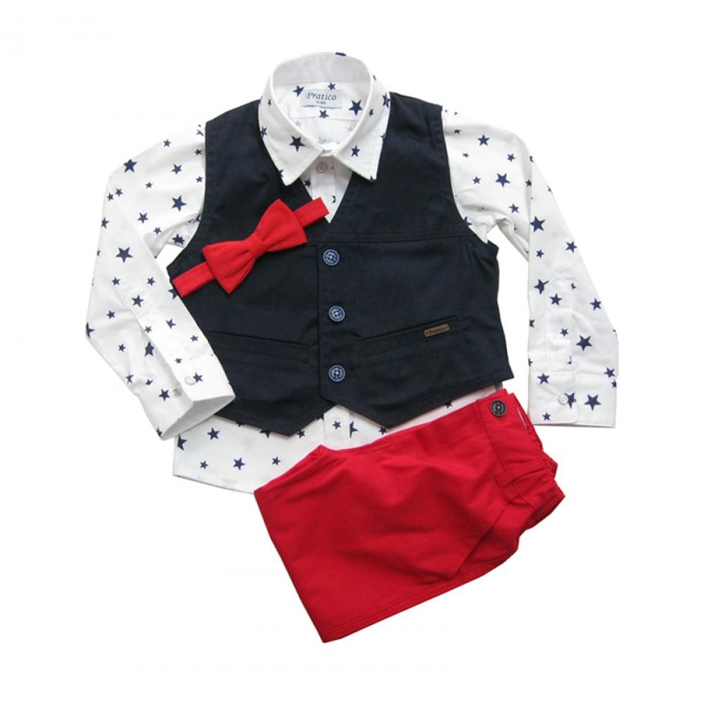 Teget/zvezde/crveni komplet za male dečake