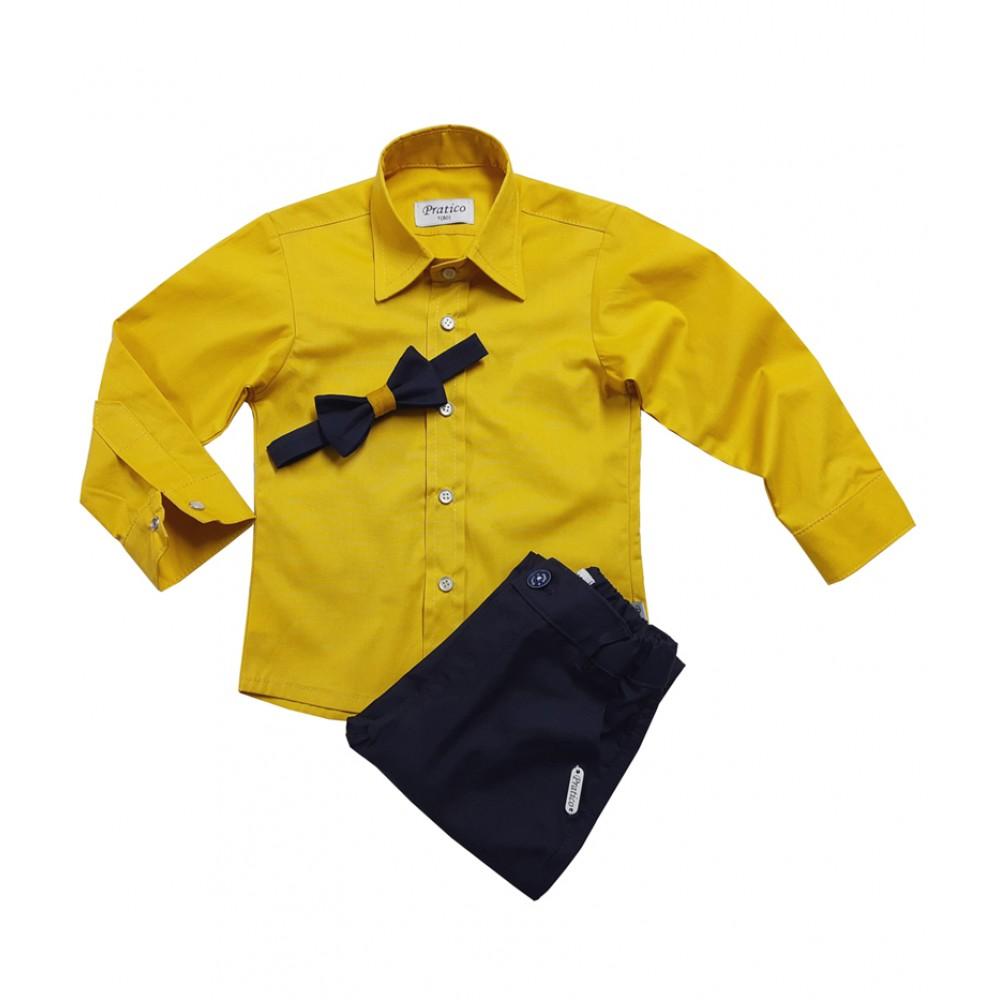 Teget/žuti trodelni dečiji komplet