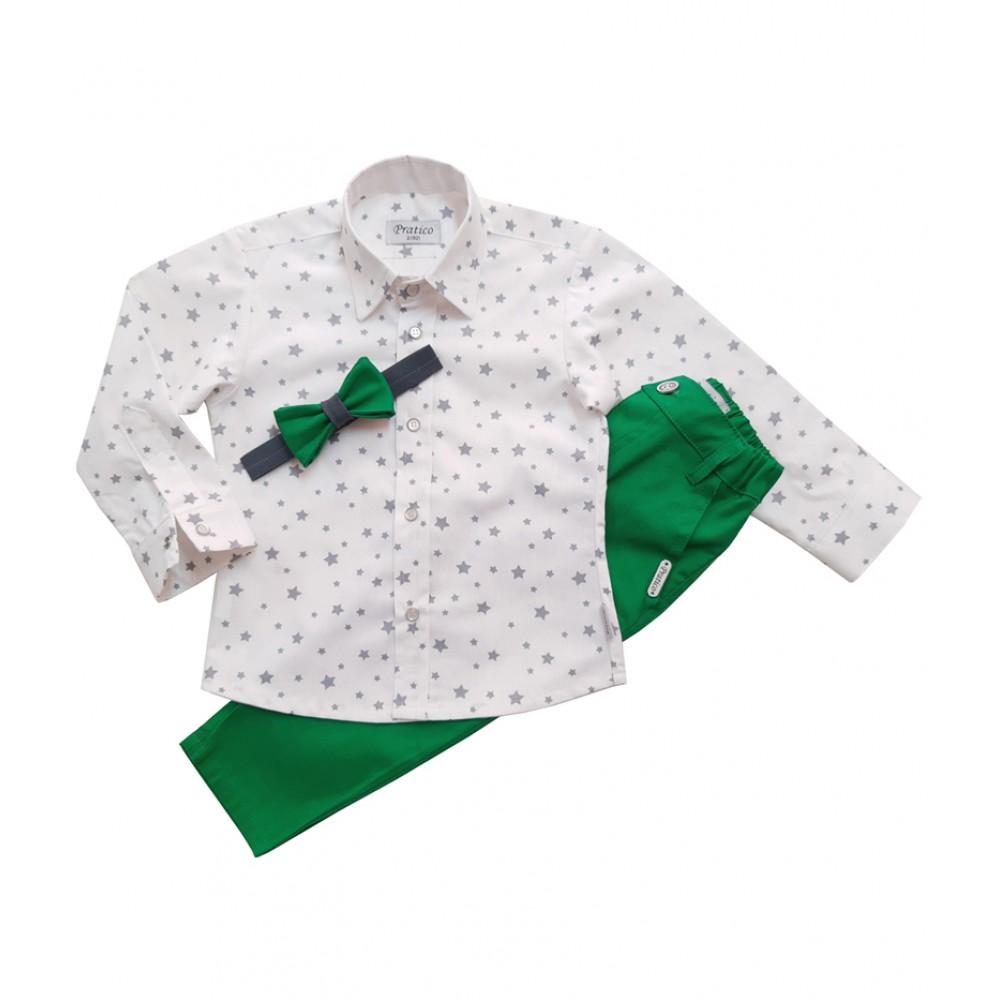 Zeleni/sive zvezde trodelni dečiji komplet