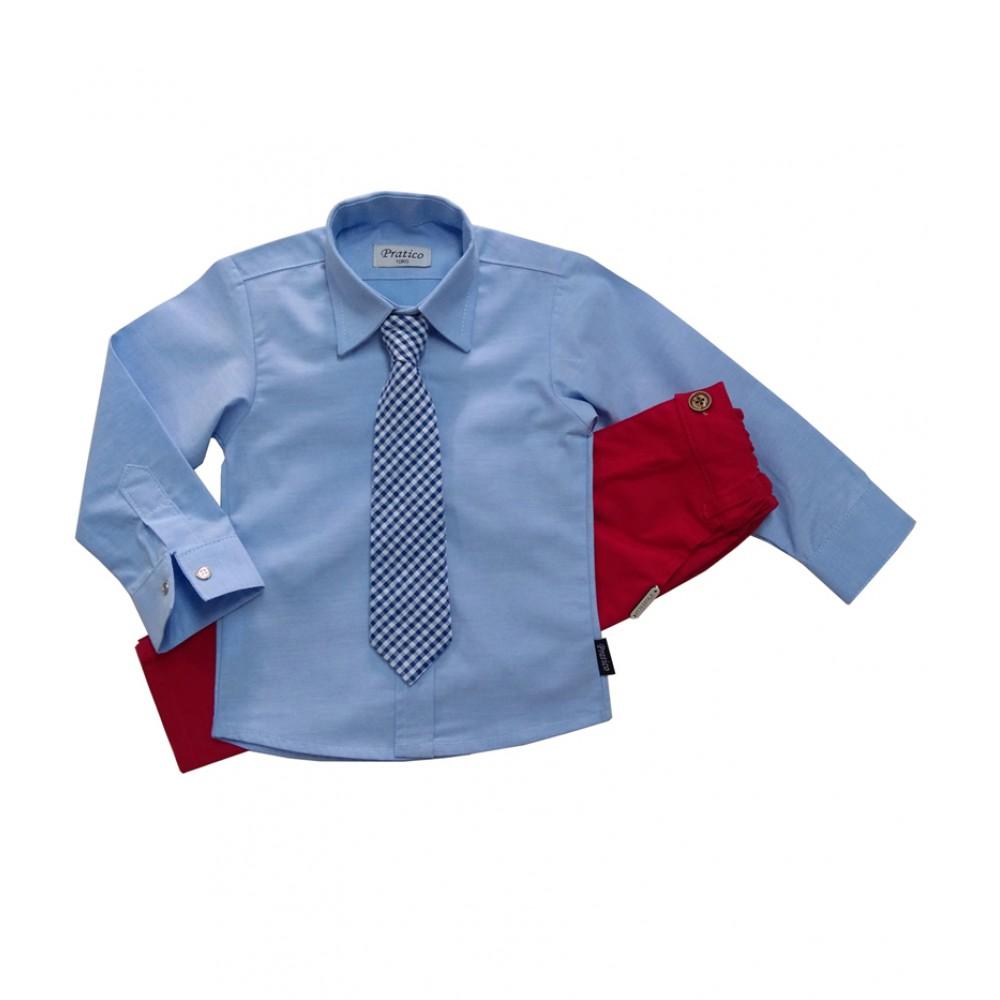 Plavo/crveni komplet sa kravatom